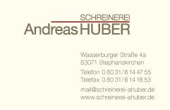 Visitenkarte Schreinerei Andreas Huber